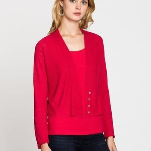 Nic + Zoe Red Linen Moonlit Ribbed Button Cardigan